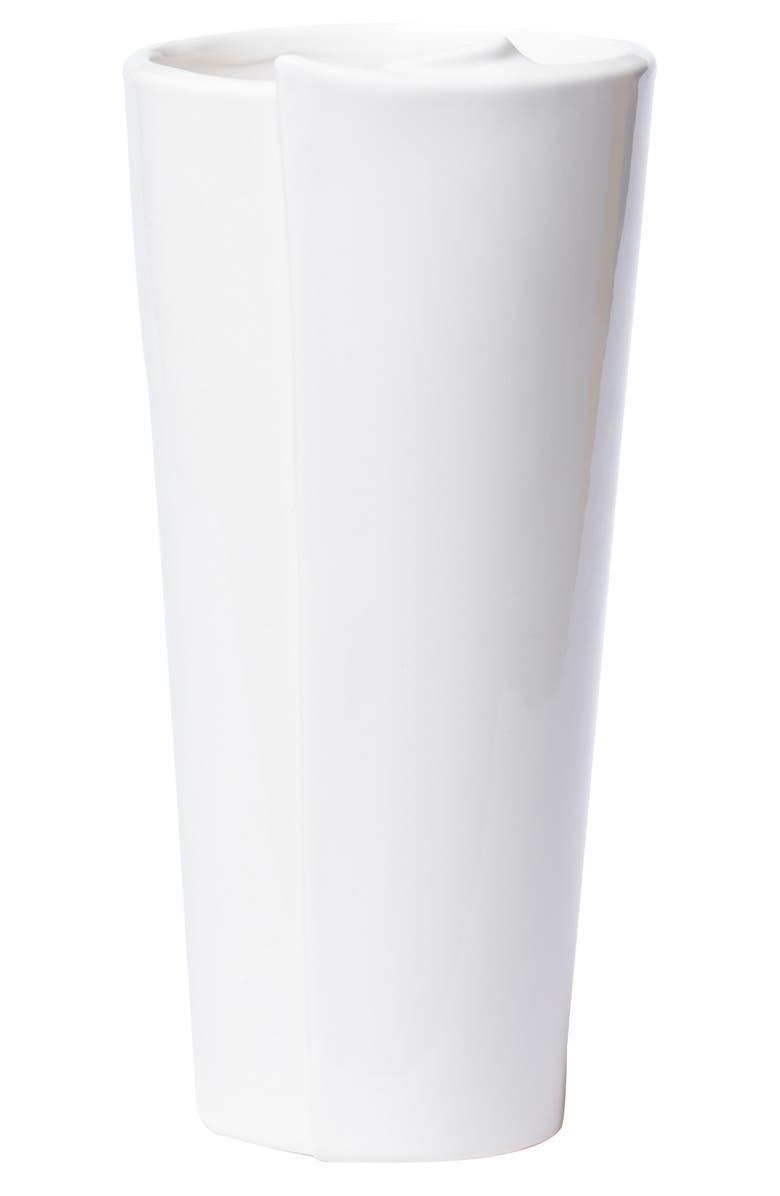 VIETRI Lastra Large Conical Vase, Main, color, WHITE