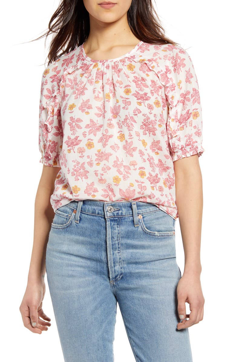 LUCKY BRAND Lauren Floral Ruffle Cotton Top, Main, color, PINK MULTI