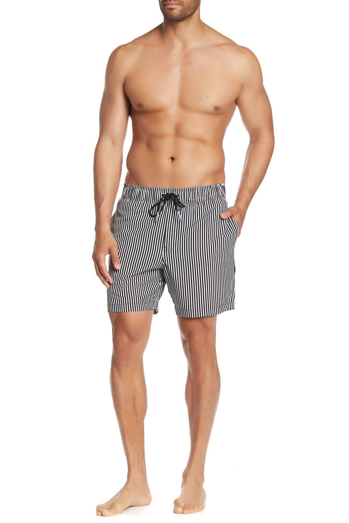 Image of MICHAEL BASTIAN 4 Way Stretch Vertical Striped Swim Shorts