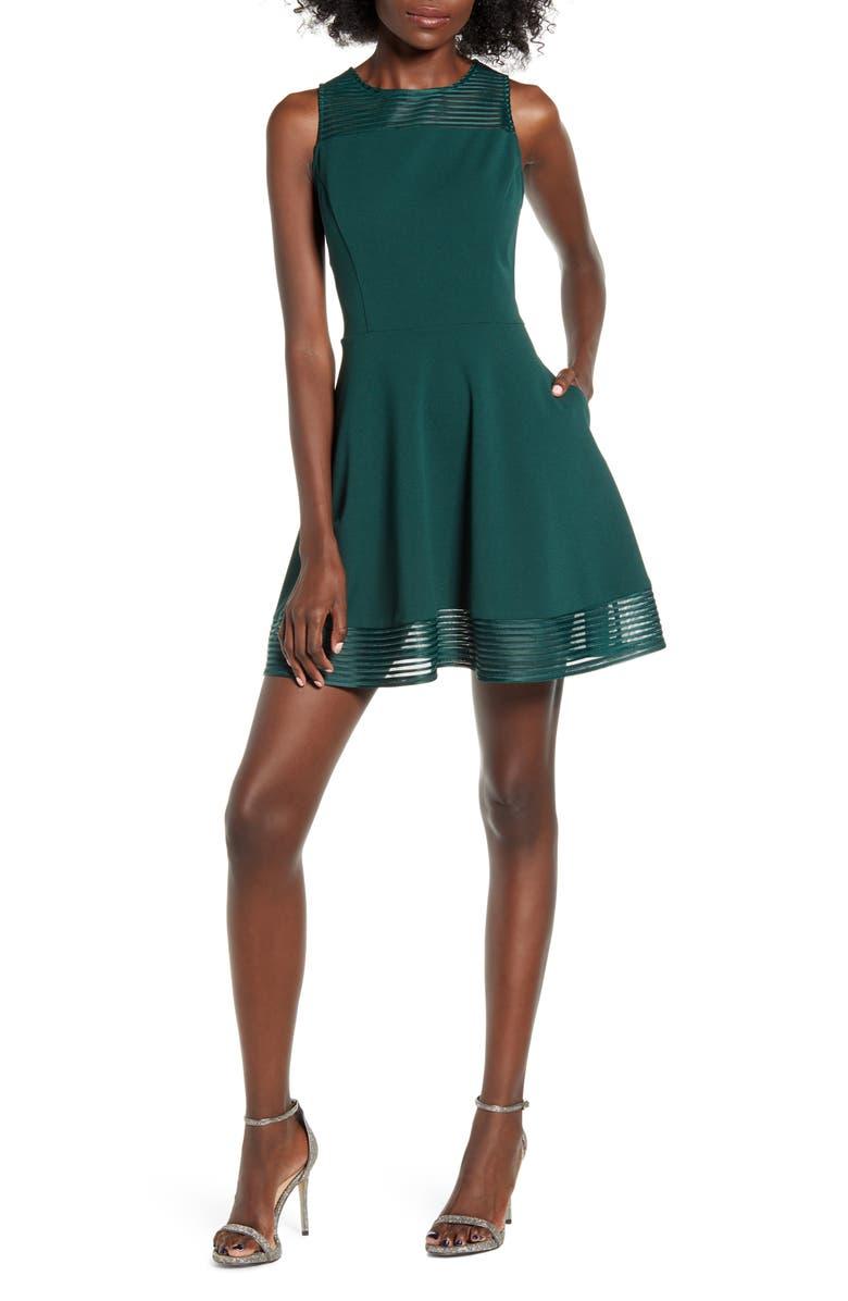 SPEECHLESS Stripe Illusion Scuba Crepe Fit & Flare Dress, Main, color, 300