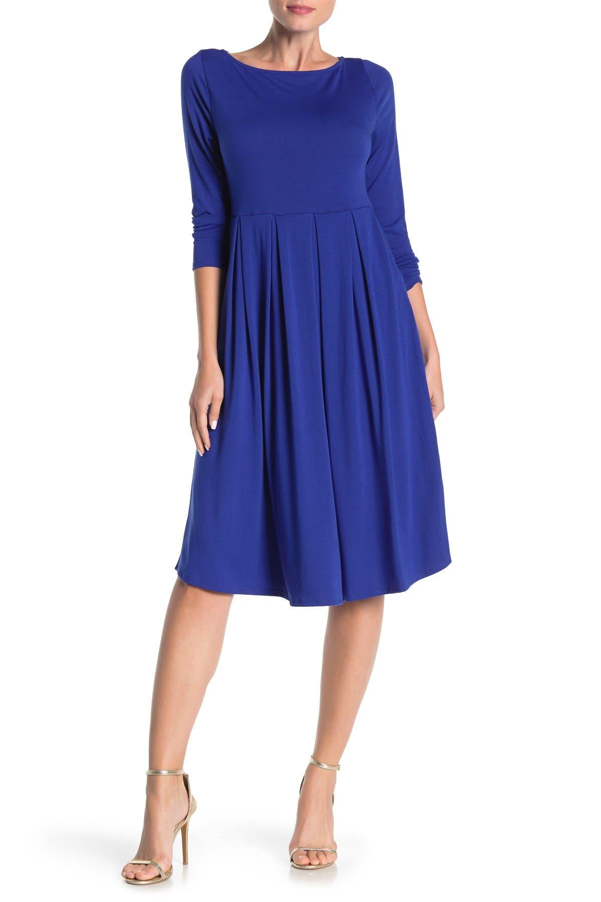 Image of WEST KEI Boatneck Long Sleeve Midi Dress