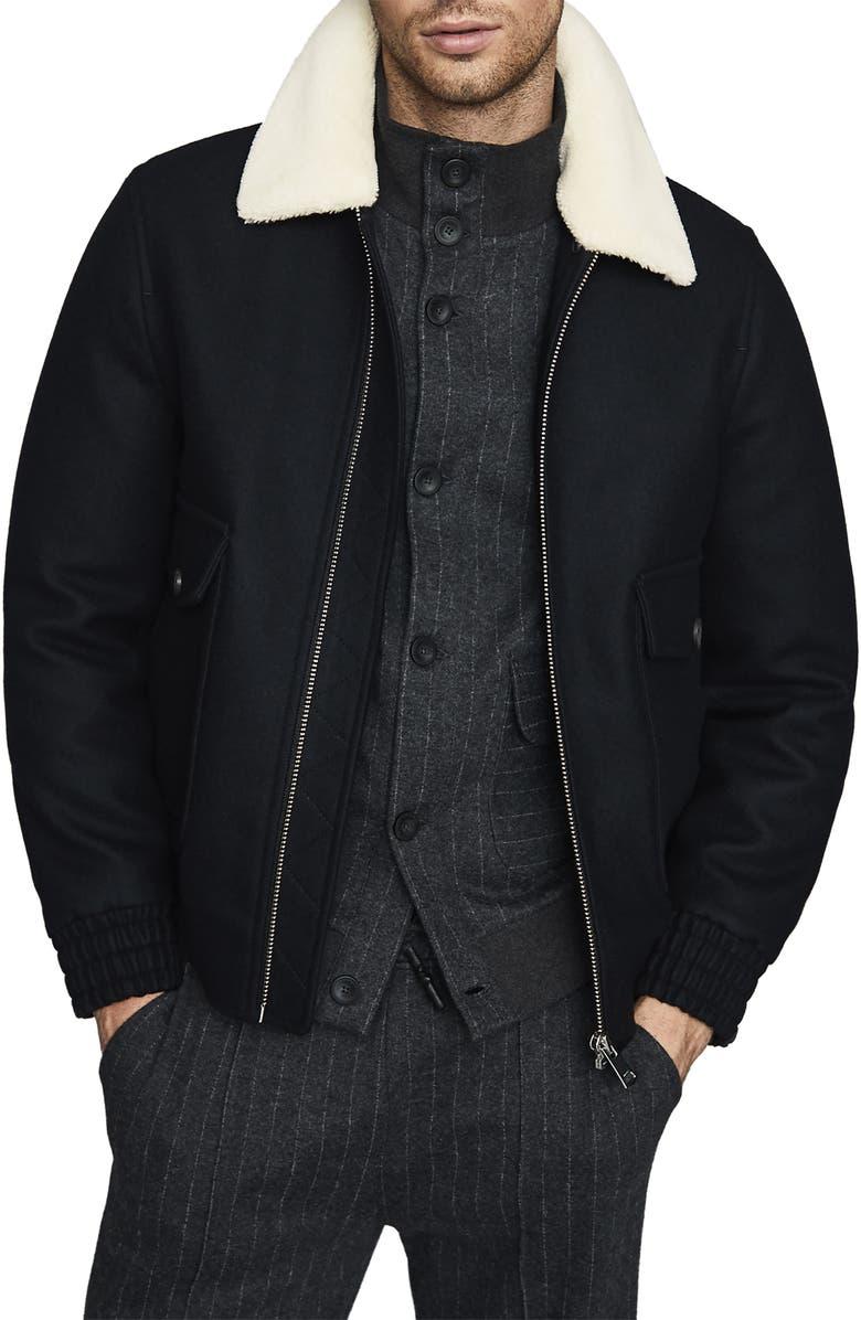 REISS Harrington Faux Shearling Collar Jacket, Main, color, 410