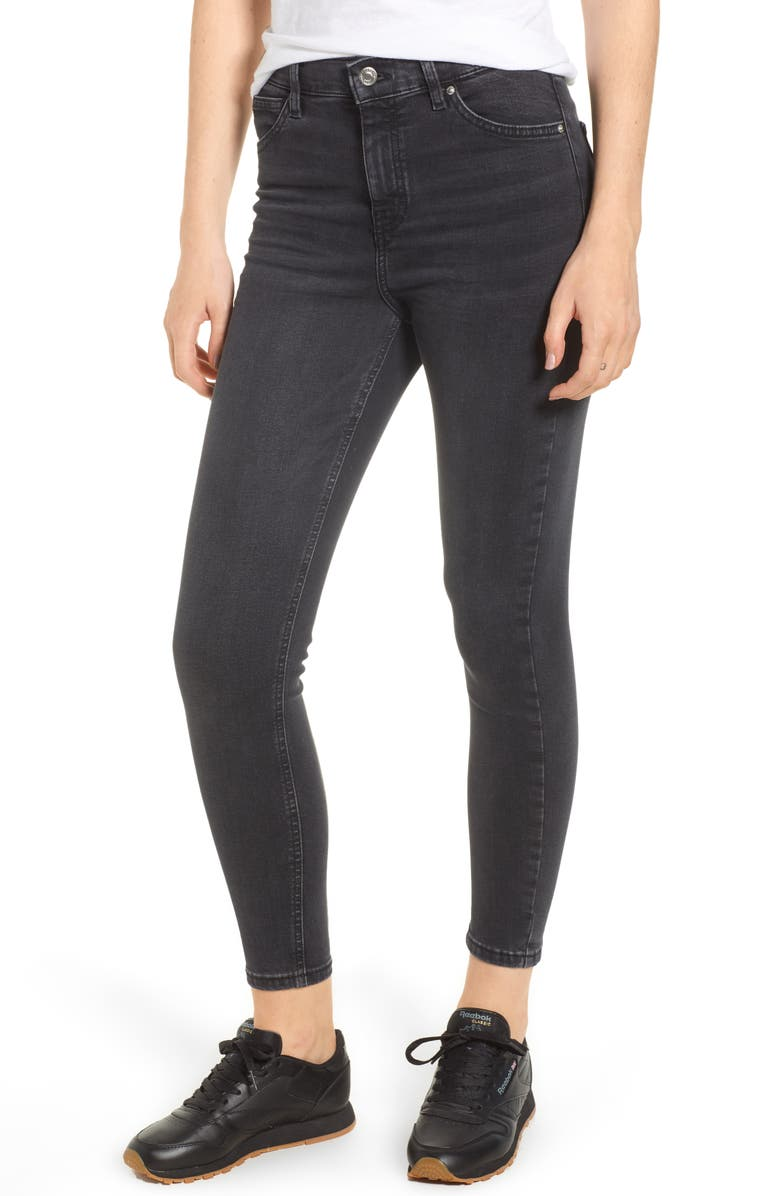 TOPSHOP Jamie High Waist Jeans, Main, color, WASHED BLACK