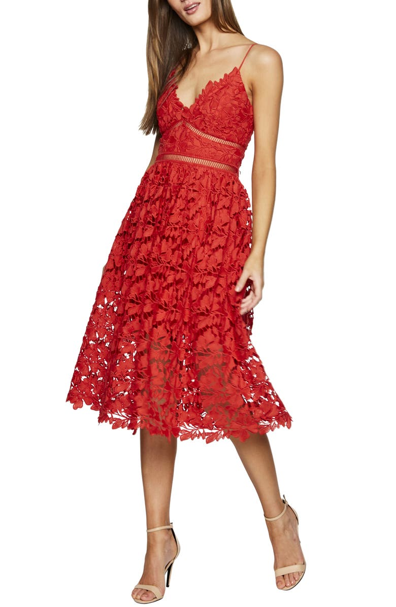 BARDOT Sonya Lace Cocktail Dress, Main, color, FIRE RED