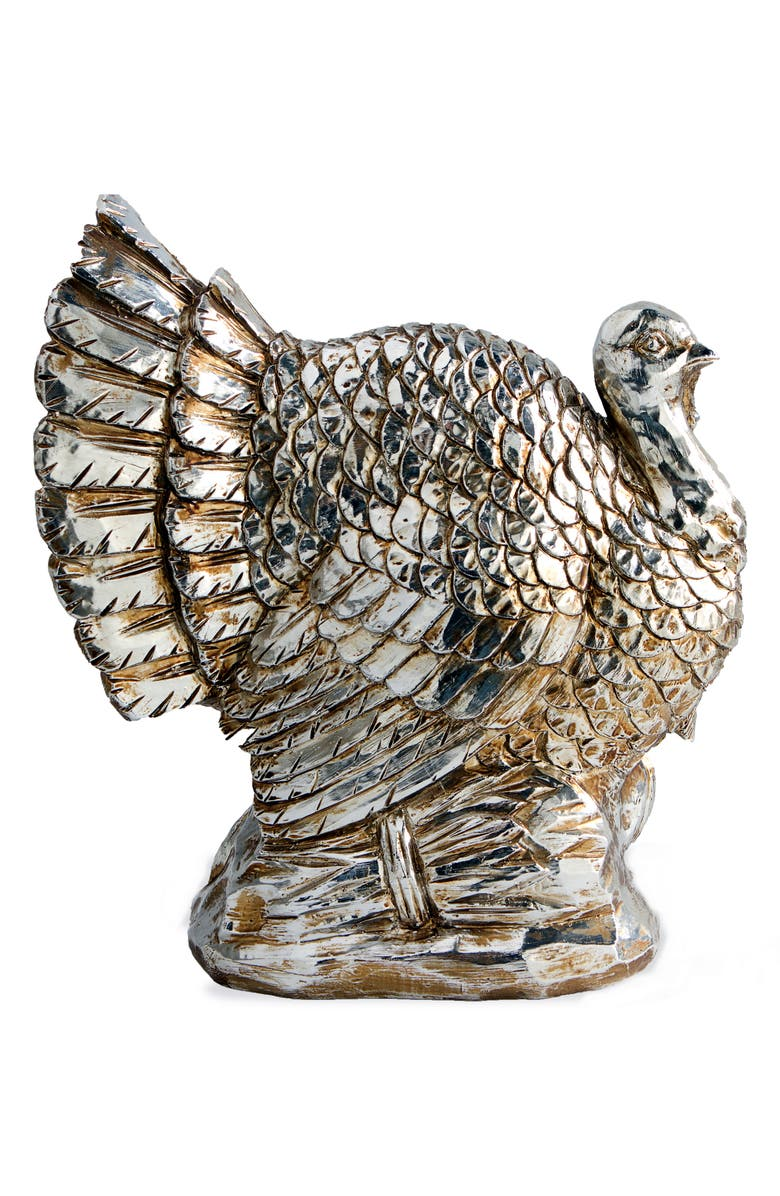 K & K INTERIORS Silvertone Turkey Decoration, Main, color, SILVER