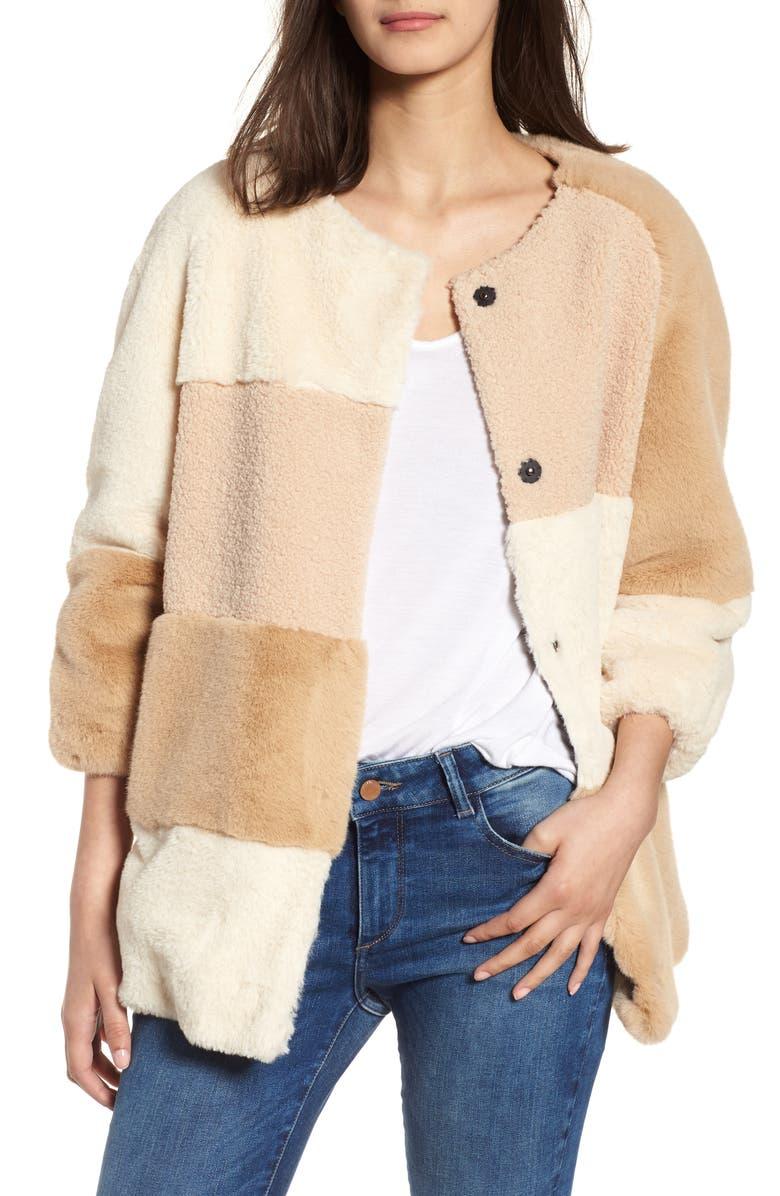 BCBGENERATION Patchwork Faux Fur Jacket, Main, color, BEIGE