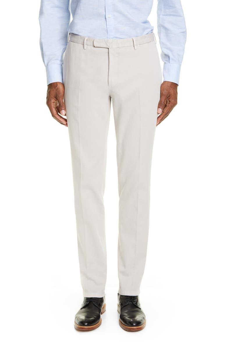 BOGLIOLI Flat Front Slim Fit Stretch Cotton Dress Pants, Main, color, LIGHT GREY
