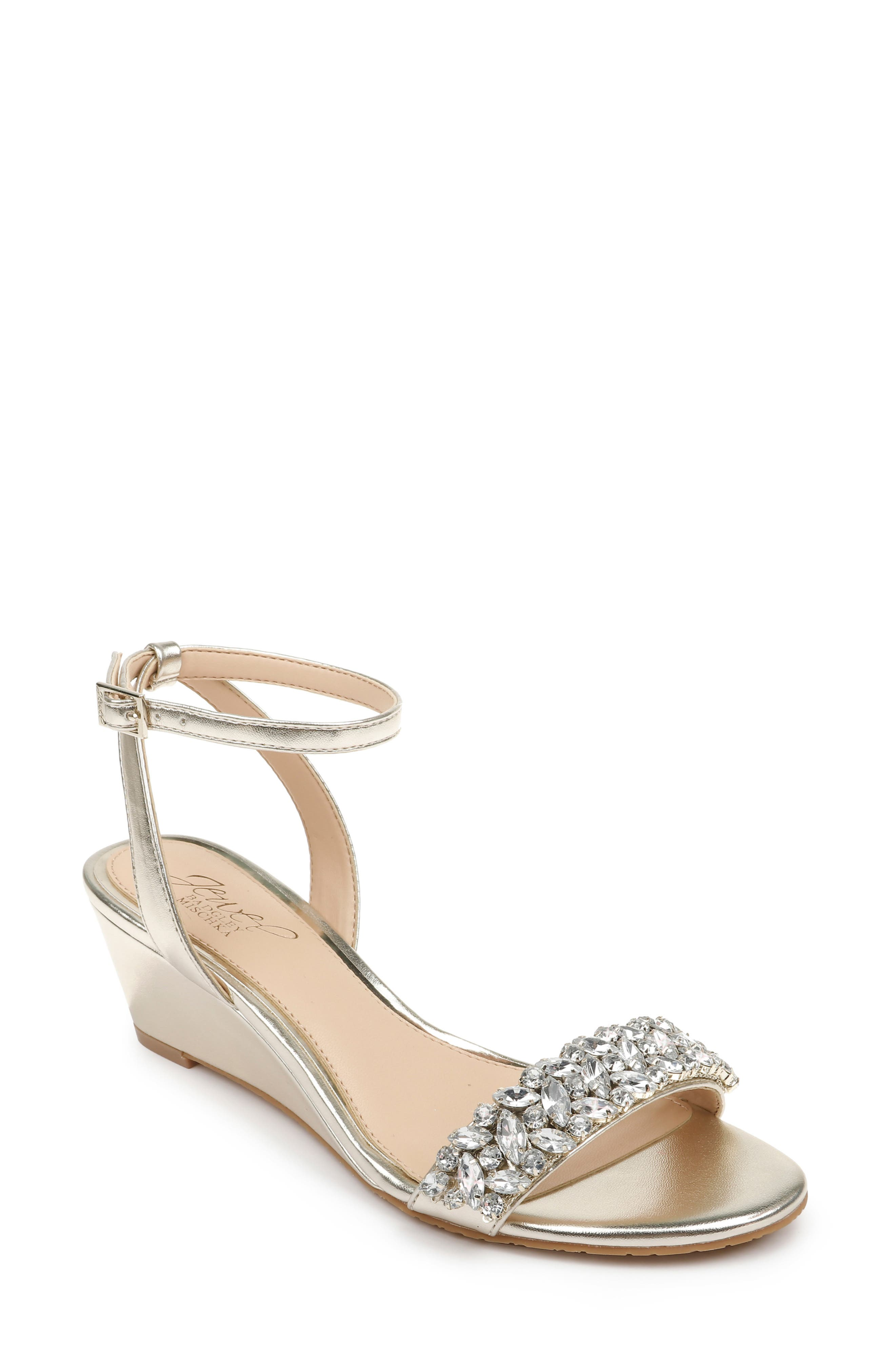 Sparkling crystals embellish the toe of a glamorous wedge sandal secured by a svelte strap at the ankle. Style Name: Jewel Badgley Mischka Bellevue Ankle Strap Wedge Sandal (Women). Style Number: 5959479 4. Available in stores.