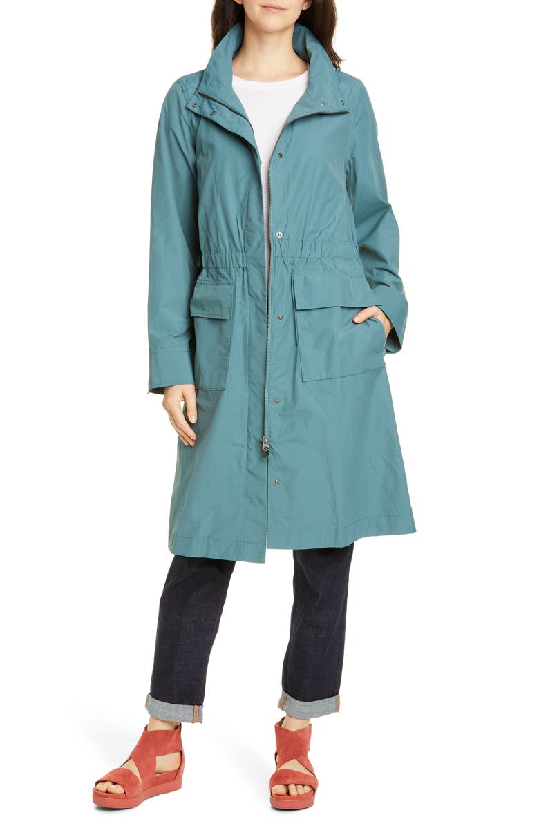 EILEEN FISHER Stand Collar Organic Cotton Blend Coat, Main, color, 440