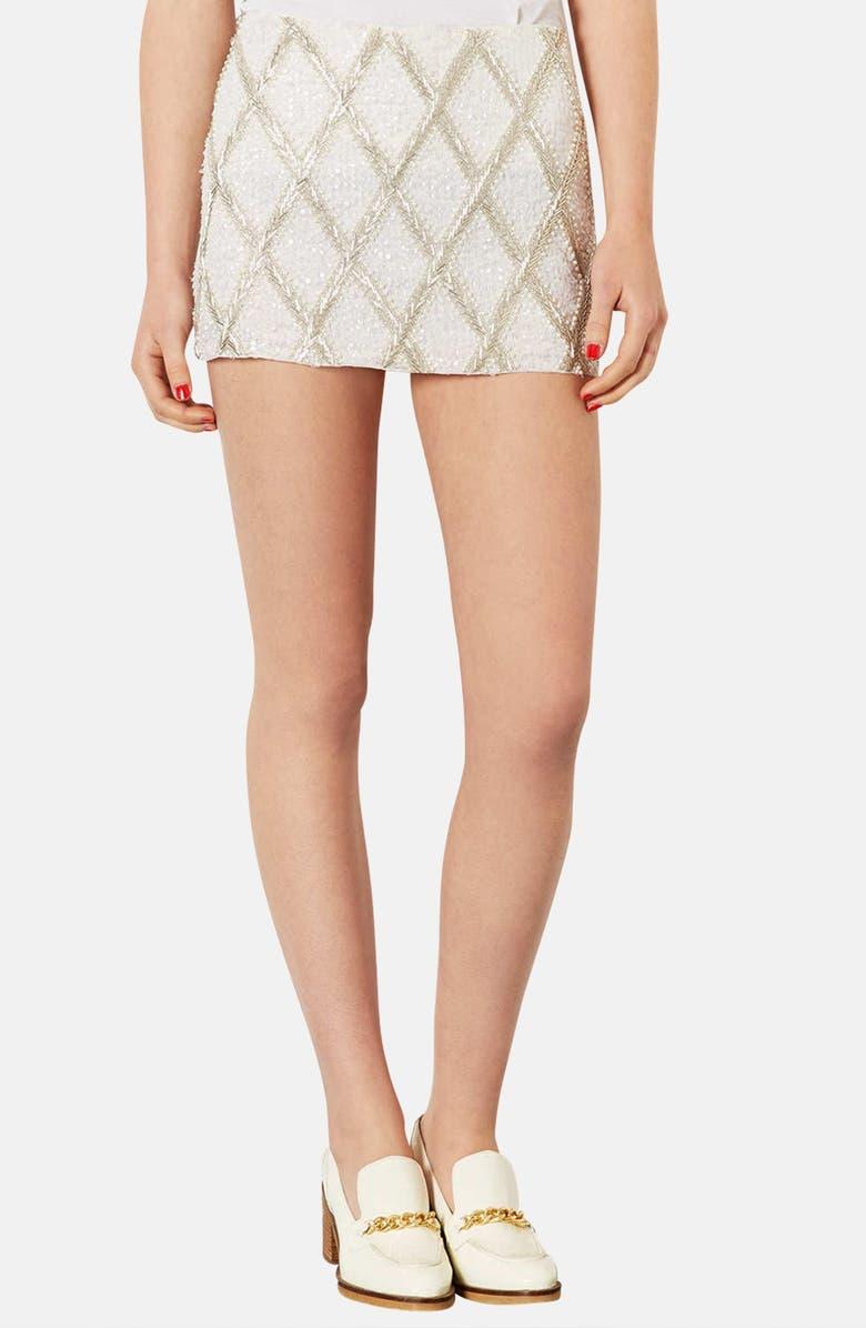 TOPSHOP Embellished Miniskirt, Main, color, 900