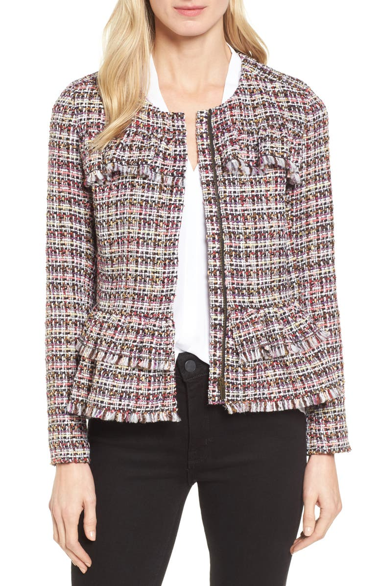 HALOGEN<SUP>®</SUP> Ruffle Detail Tweed Jacket, Main, color, 660