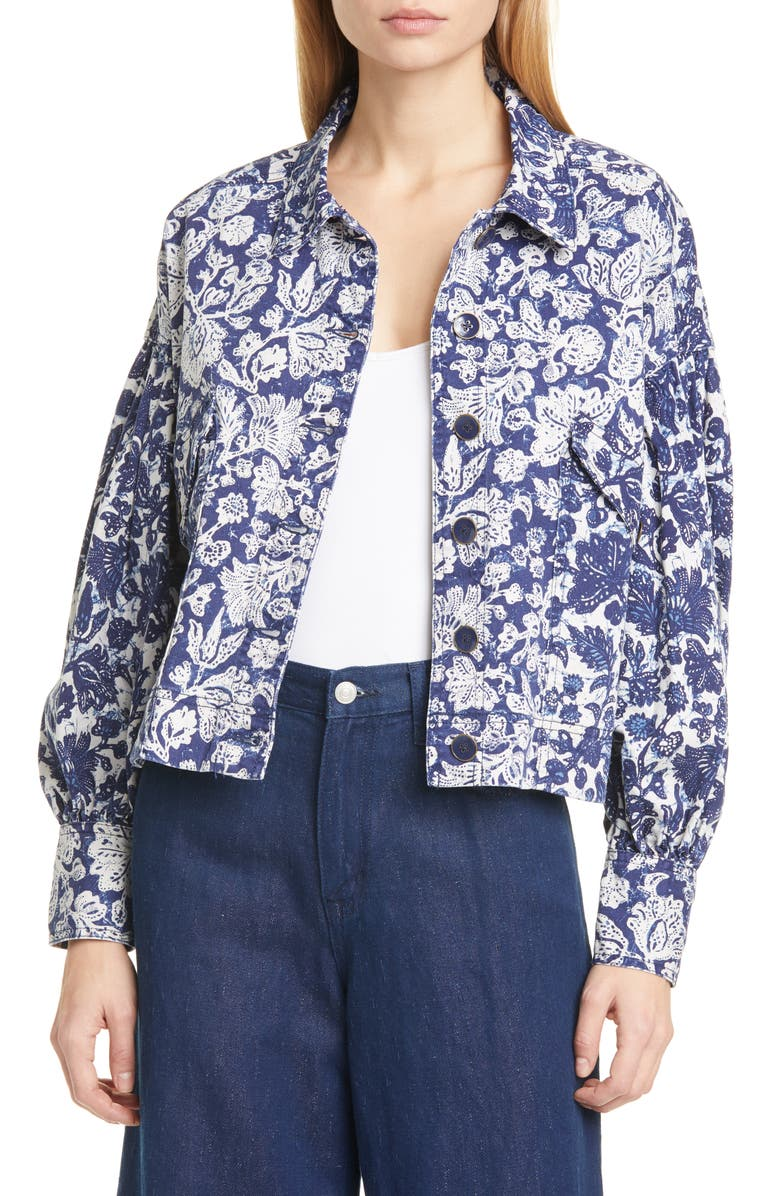 ULLA JOHNSON Griffin Floral Denim Jacket, Main, color, FLORAL PATCHWORK