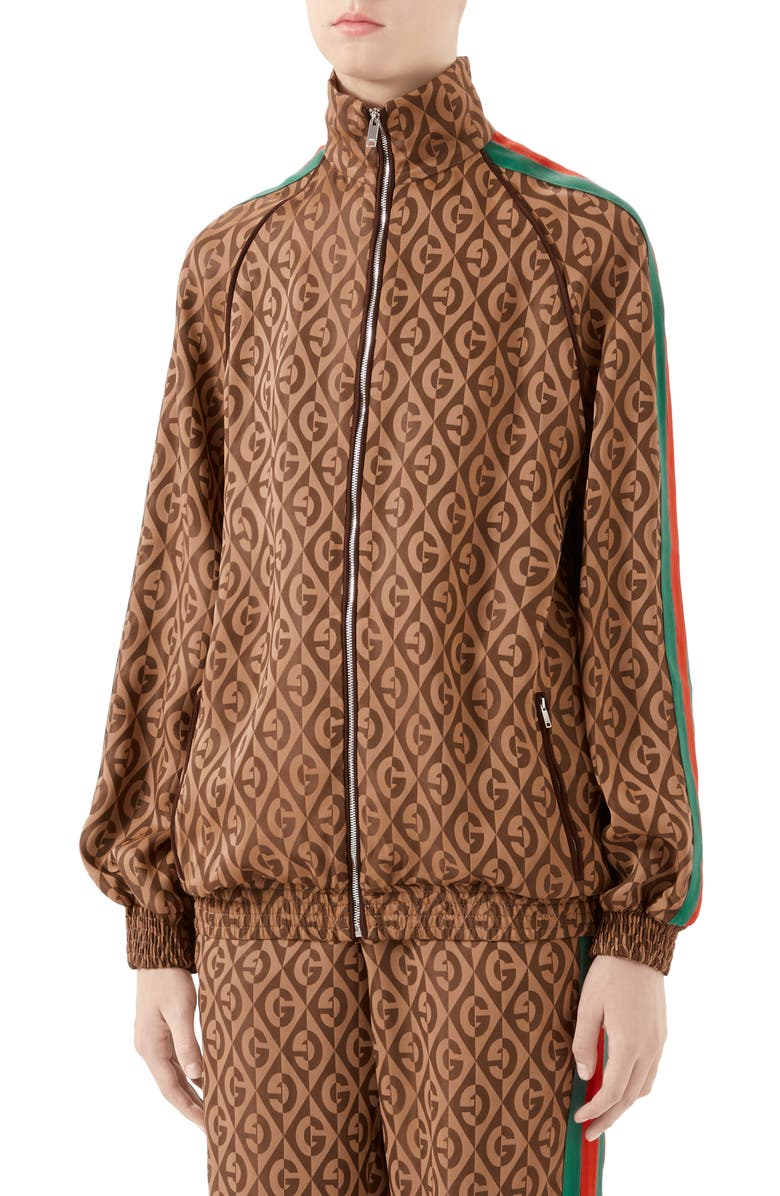 GUCCI GG Rhombus Jacquard Jersey Jacket, Main, color, BROWN/ MULTICOLOR