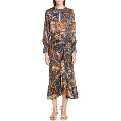 Johanna Ortiz Jaguar Print Georgette Midi Dress, Blue