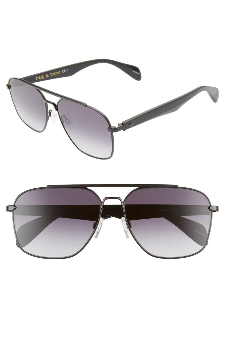 RAG & BONE Navigator 60mm Aviator Sunglasses, Main, color, MATTE BLACK