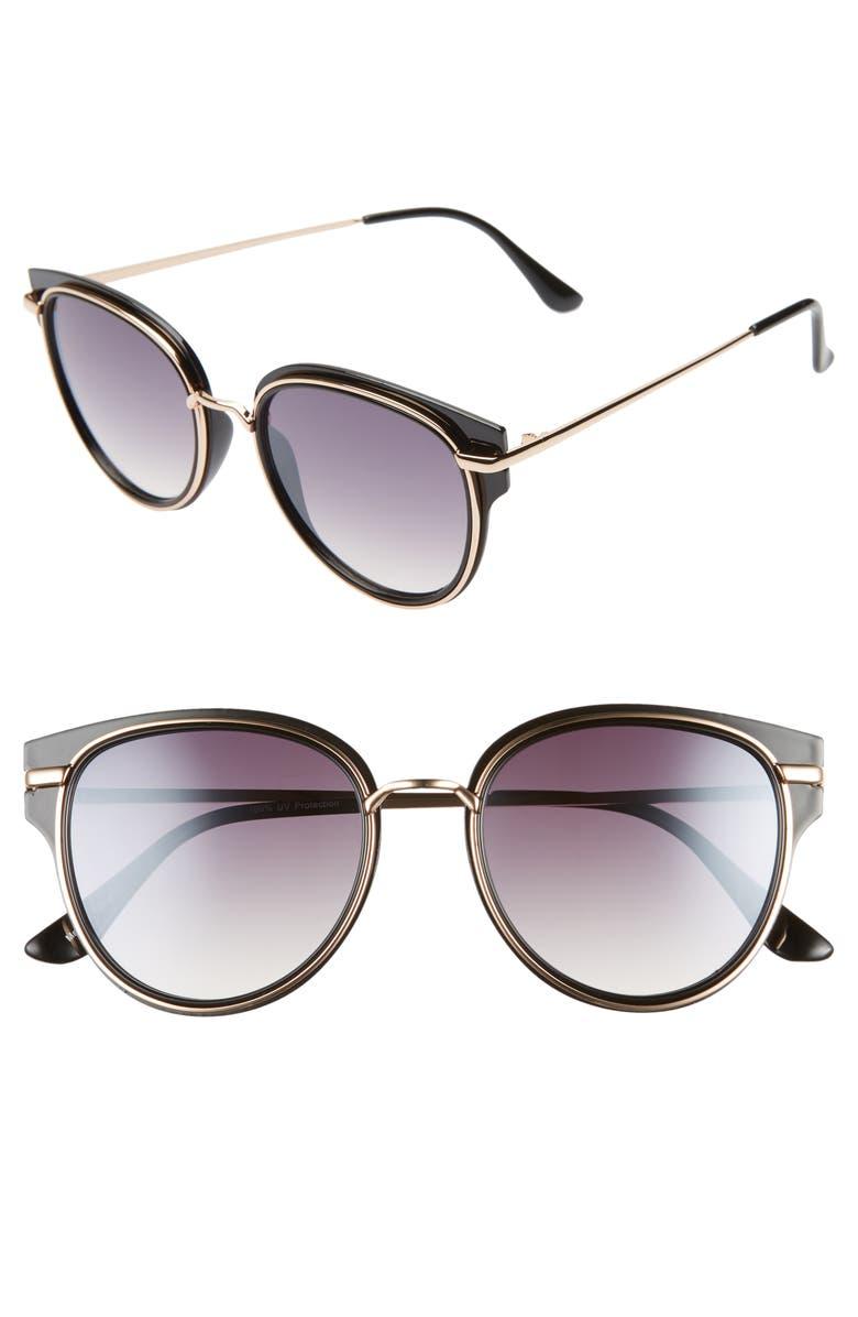 BP. 53mm Metal Overlay Gradient Cat Eye Sunglasses, Main, color, BLACK