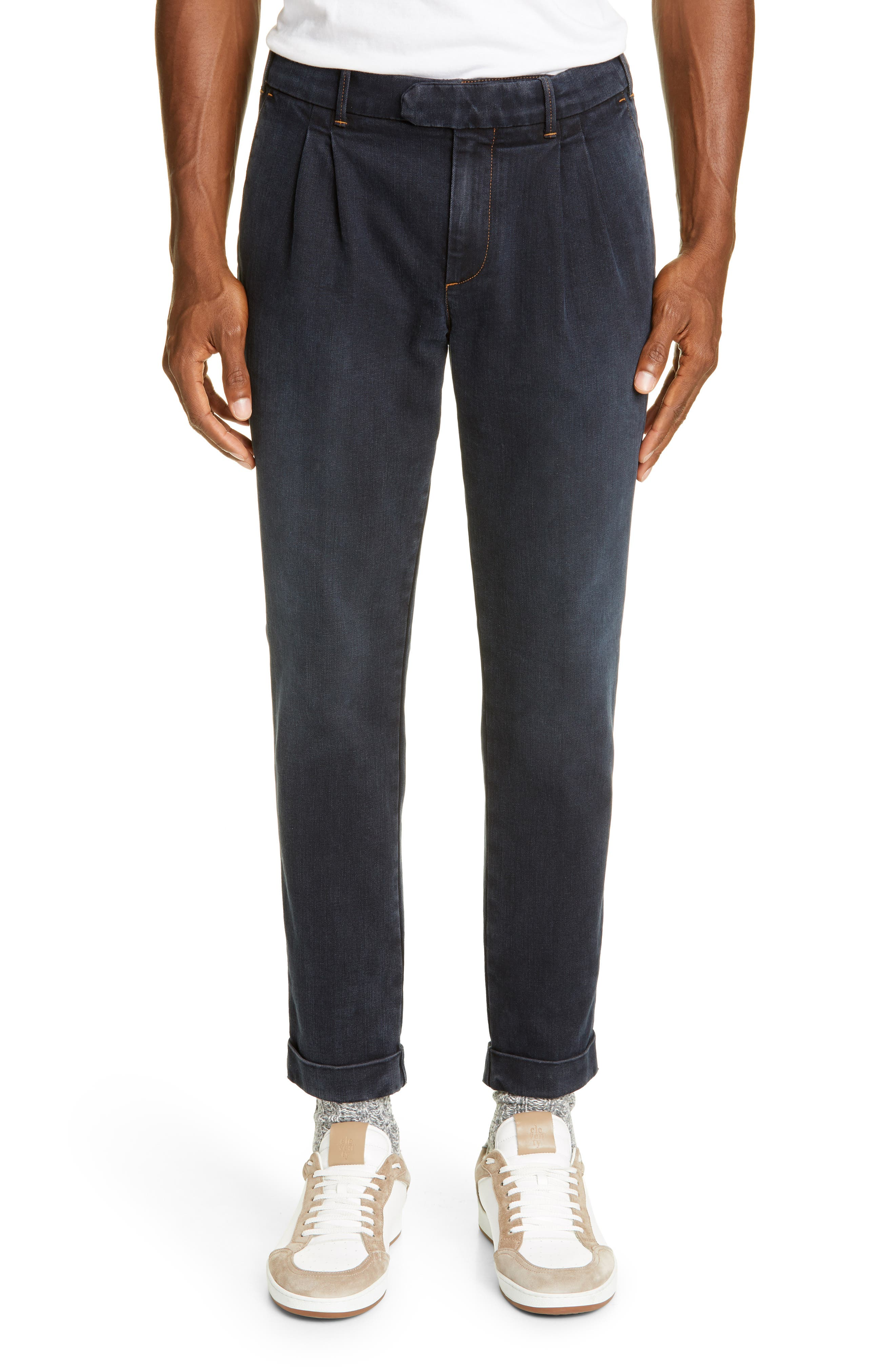 Men's Vintage Pants, Trousers, Jeans, Overalls Mens Eleventy Pleated Cotton Blend Jeans $395.00 AT vintagedancer.com
