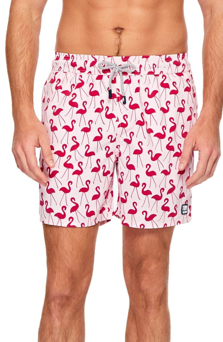 TOM & TEDDY Flamingo Print Swim Trunks, Main, color, PINK/ RED