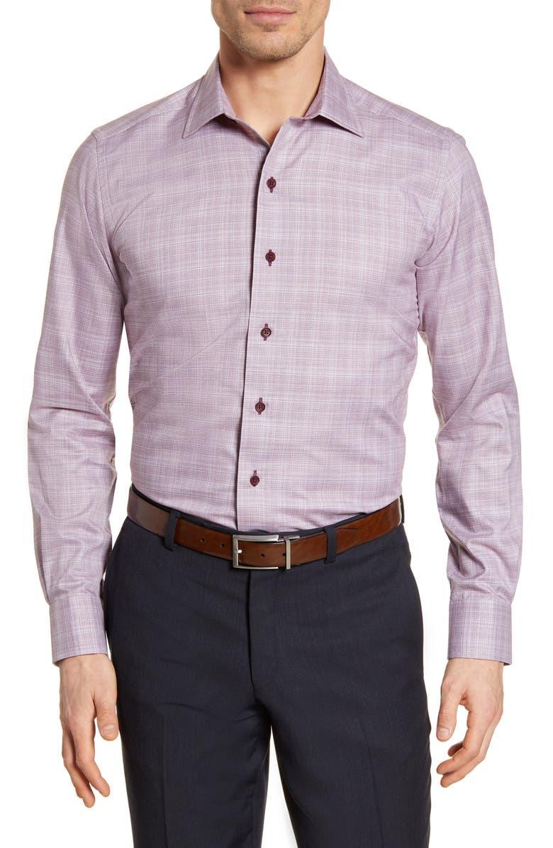DAVID DONAHUE Trim Fit Check Dress Shirt, Main, color, MERLOT