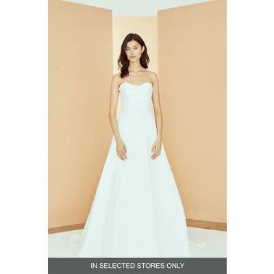 Nouvelle Amsale Kirsten Strapless Faille Wedding Dress, Size - White