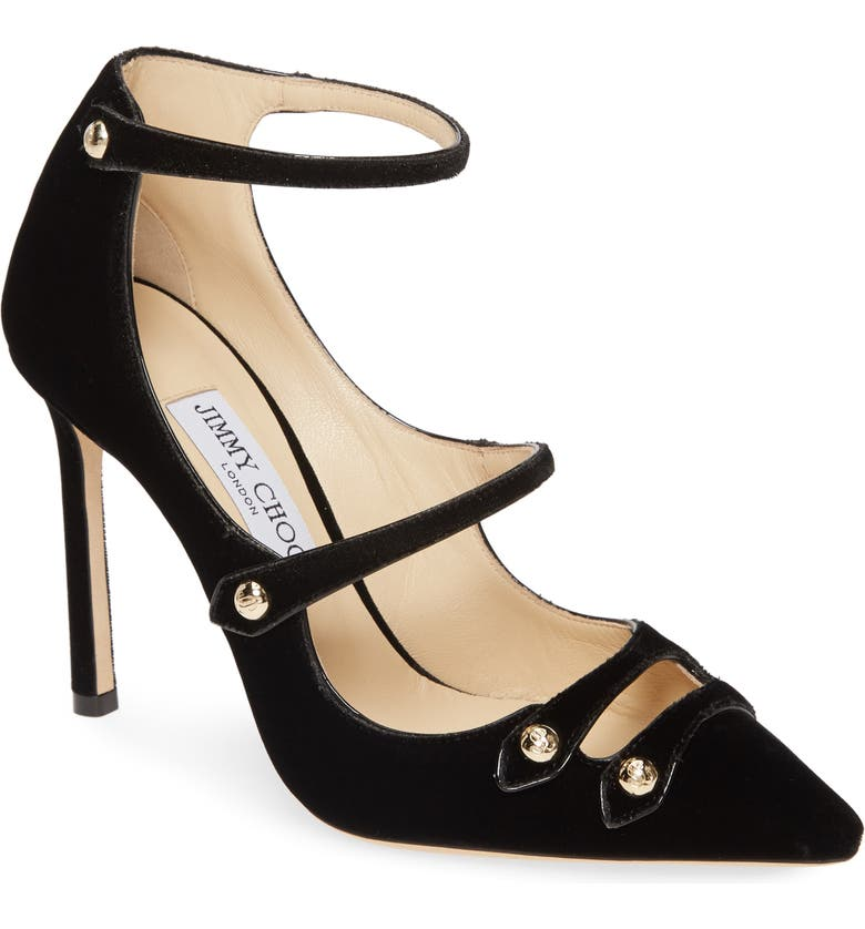 JIMMY CHOO Lacey Strappy Pump, Main, color, BLACK VELVET