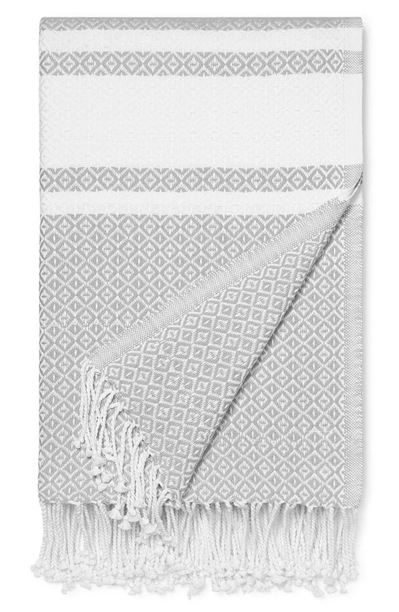 BOLL & BRANCH Adirondack Organic Cotton Throw Blanket, Main, color, PEWTER-WHITE