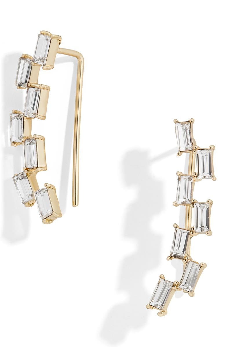 BAUBLEBAR Isola Baguette Crystal Ear Crawlers, Main, color, GOLD