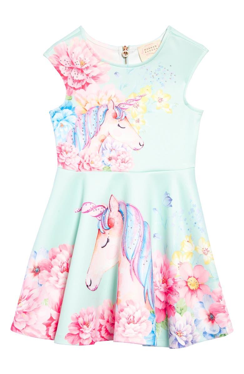 HANNAH BANANA Unicorn Fit & Flare Dress, Main, color, 300