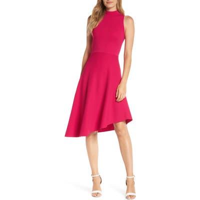 Eliza J Asymmetrical Fit & Flare Sweater Dress, Pink