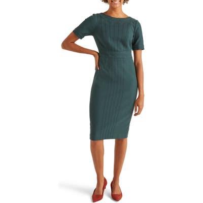 Boden Talia Short Sleeve Textured Dress, Green