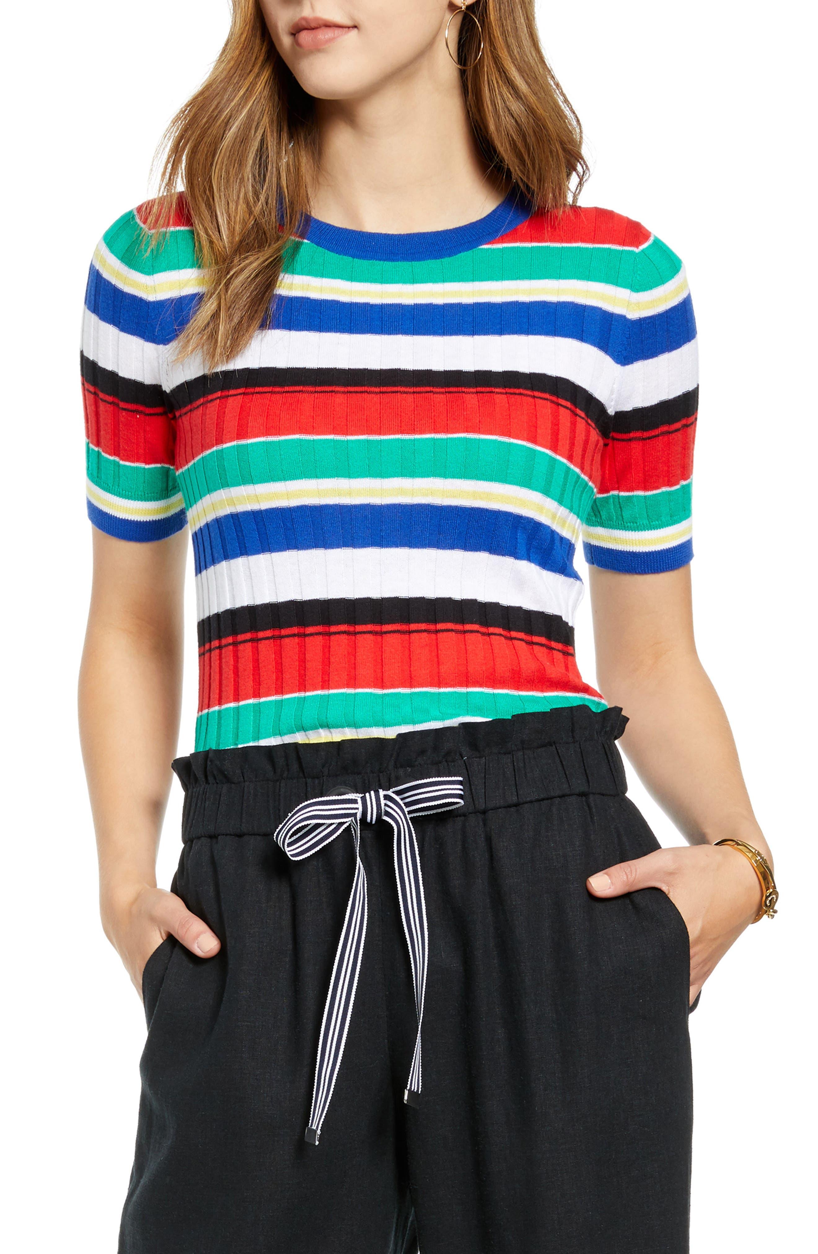 1901 Multistripe Short Sleeve Ribbed Sweater