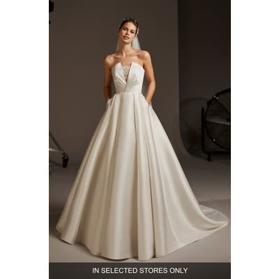 Pronovias Phoebe Strapless Mikado Wedding Dress, Size IN STORE ONLY - Ivory