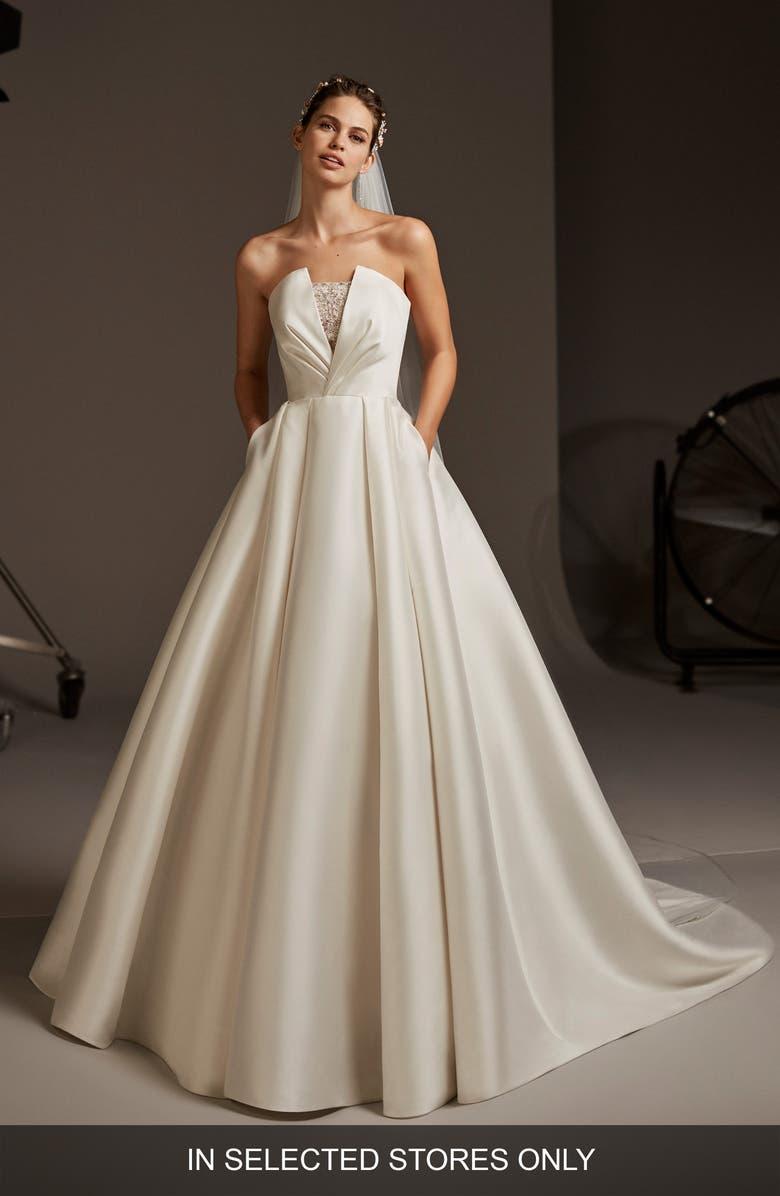 PRONOVIAS Phoebe Strapless Mikado Wedding Dress, Main, color, OFF WHITE