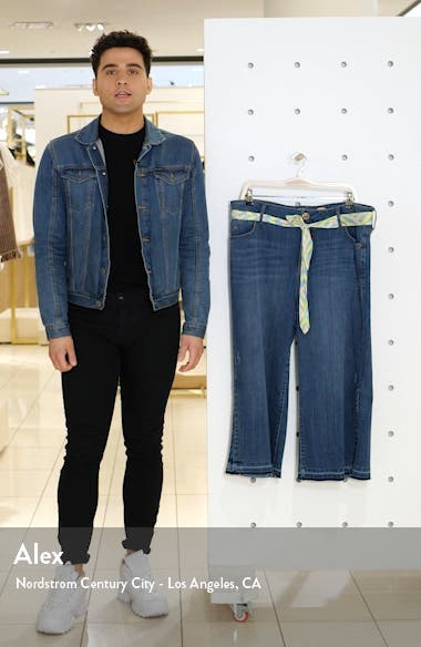 Scarf Belt Release Hem Wide Leg Crop Jeans, sales video thumbnail