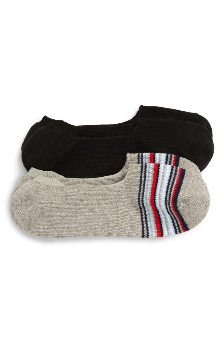 NORDSTROM MEN'S SHOP 2-Pack Liner Socks, Main, color, BLACK/ GREY