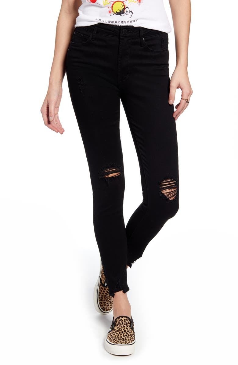 ARTICLES OF SOCIETY Hilary High Waist Ripped Ankle Skinny Jeans, Main, color, HOOD
