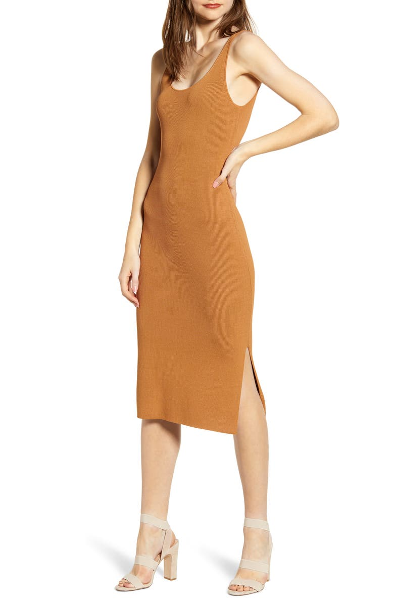 LEITH Wide Strap Sleeveless Midi Sweater Dress, Main, color, TAN LION