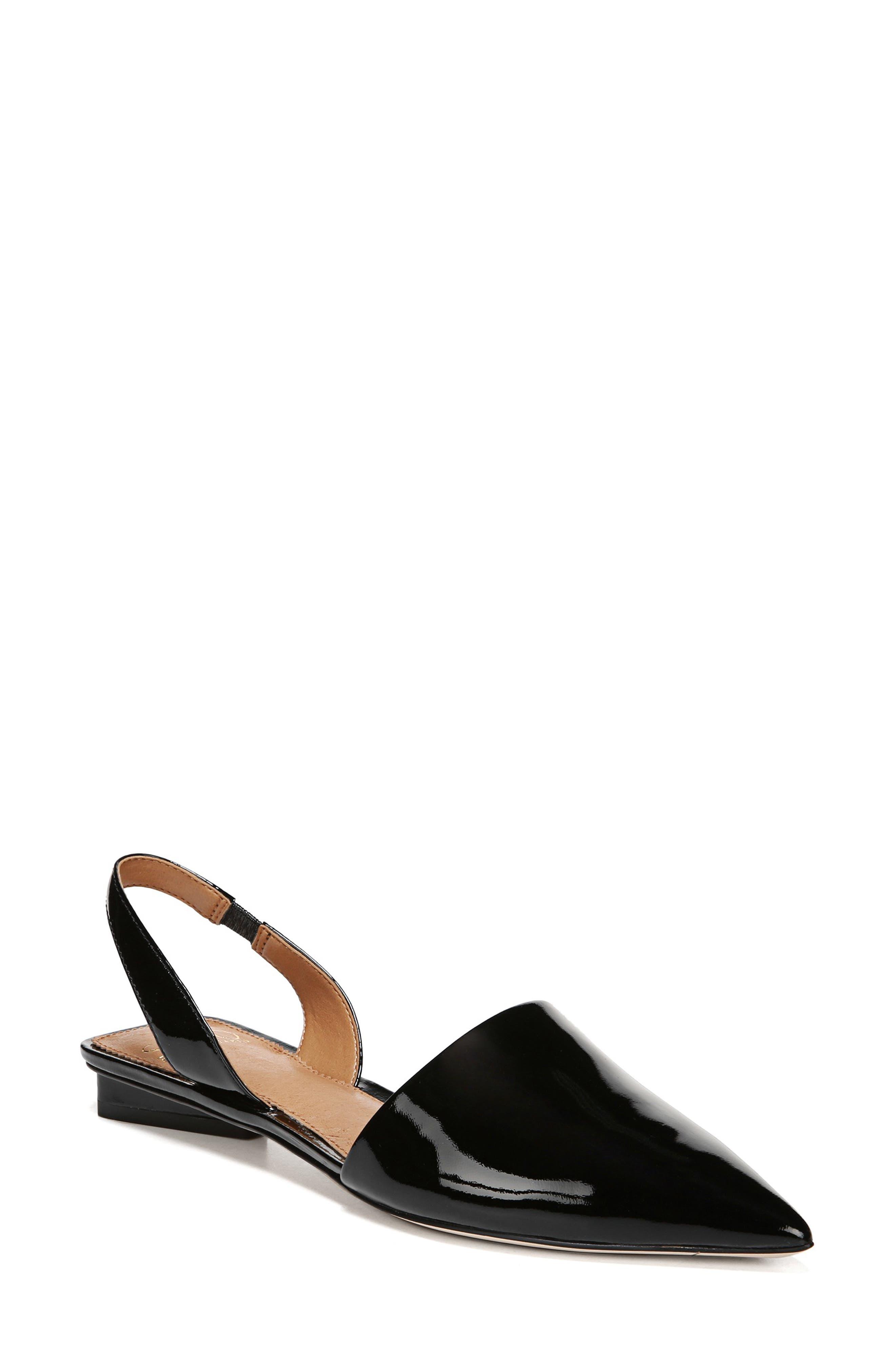 Graydon Pointy Toe Slingback Flat, Main, color, BLACK PATENT LEATHER