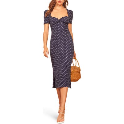 Reformation Marfa Ruffle Trim Midi Dress, Blue