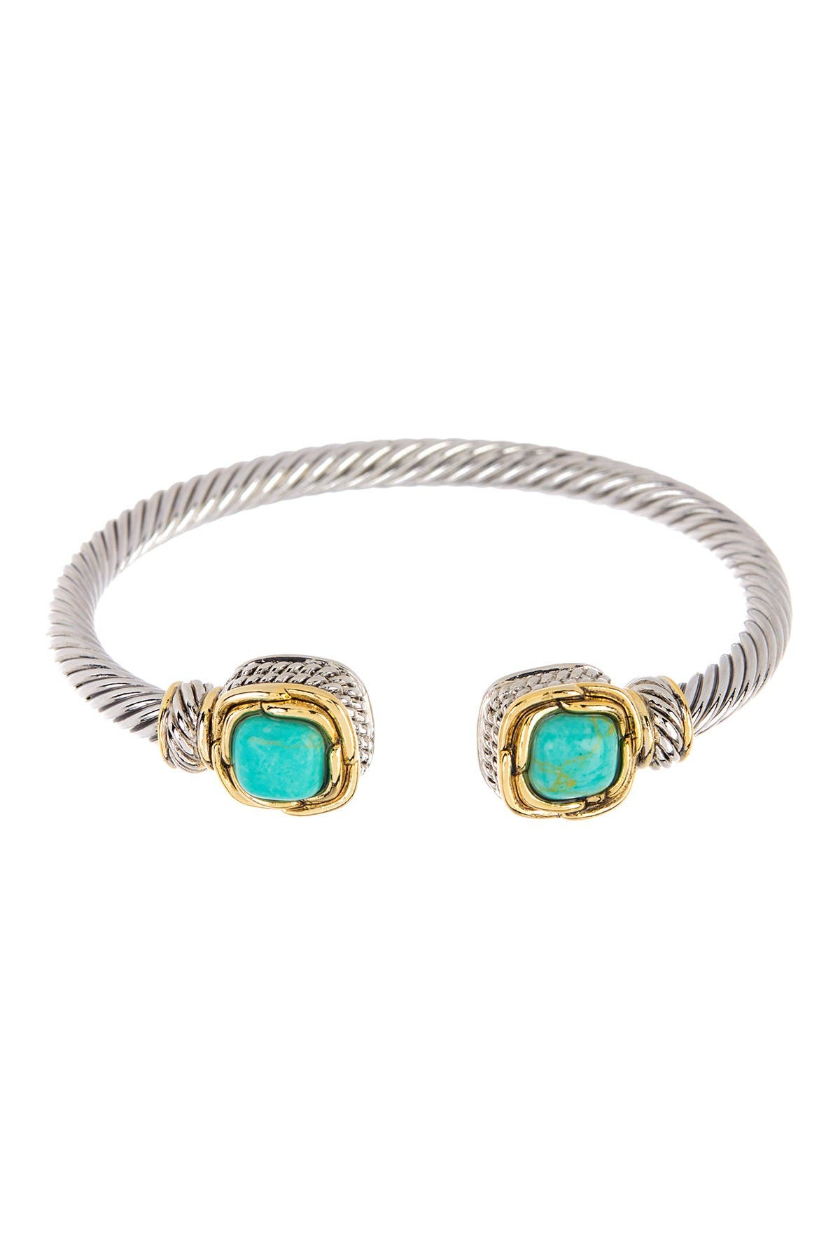 Image of Meshmerise Twisted Cable Turquoise Ends Cuff Bracelet