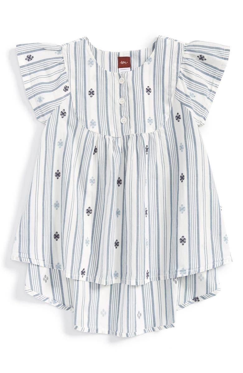 TEA COLLECTION 'Citizen Stripe' Flutter Sleeve Woven Top, Main, color, 101