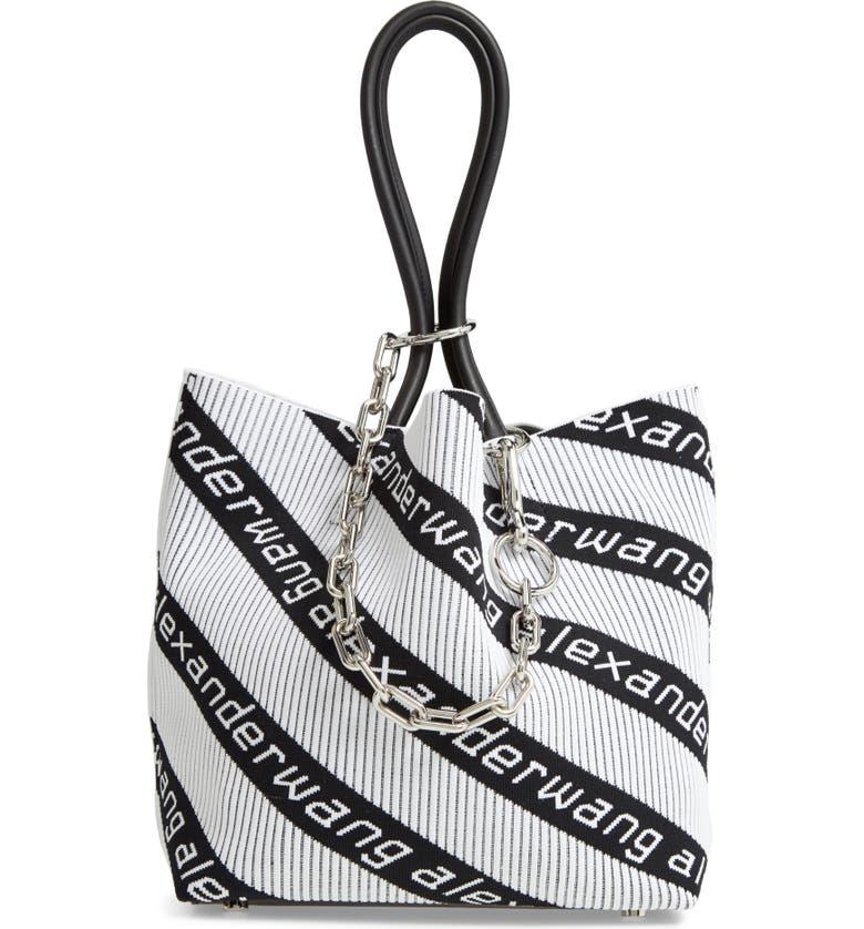 ALEXANDER WANG Small Roxy Logo Knit Jacquard Tote, Main, color, BLACK/ WHITE