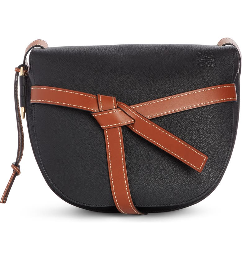 LOEWE Gate Small Leather Crossbody Bag, Main, color, BLACK/ PECAN