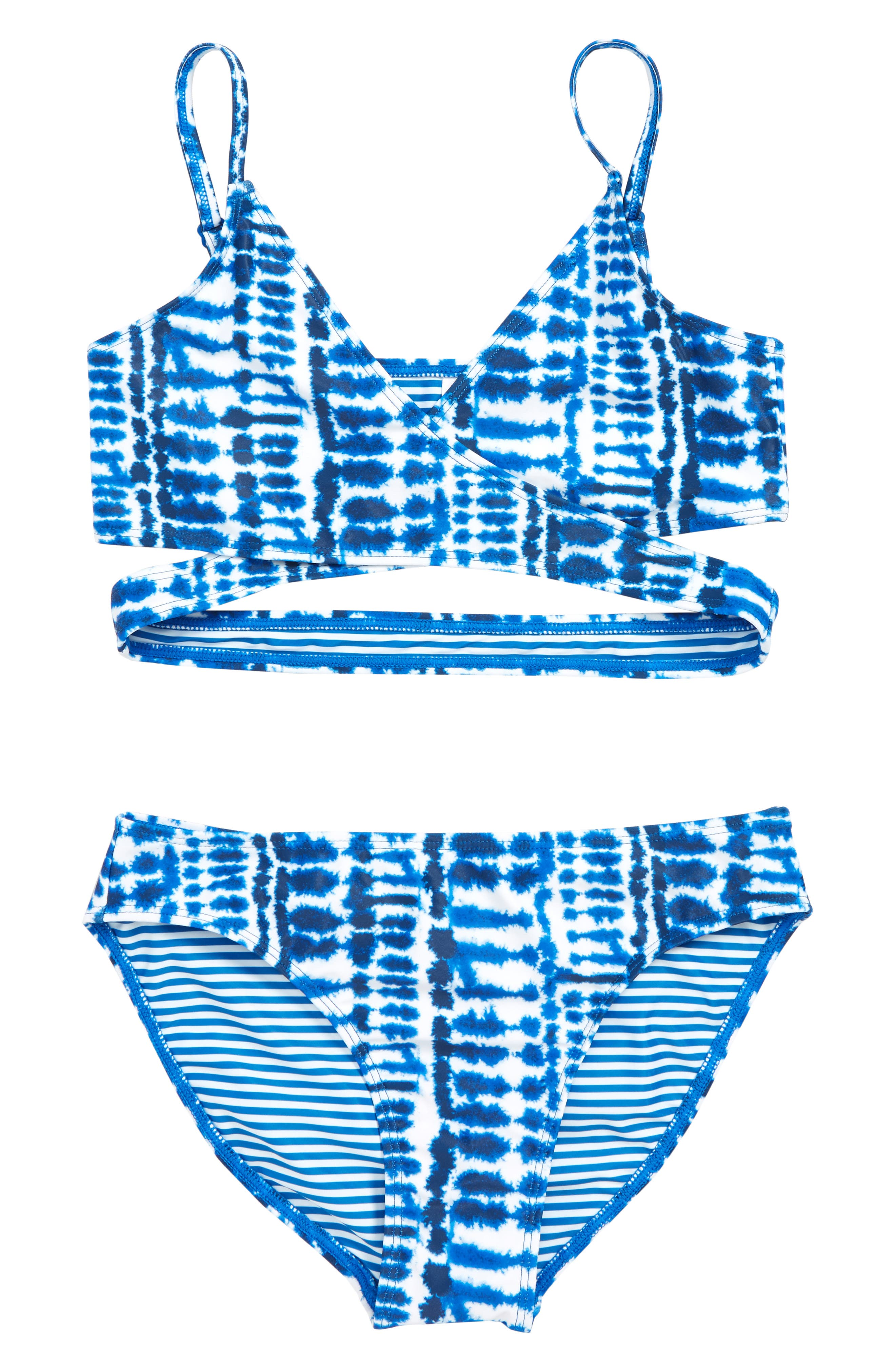 8e1ca0886f Girl's Tucker + Tate Crisscross Two-Piece Swimsuit, Blue