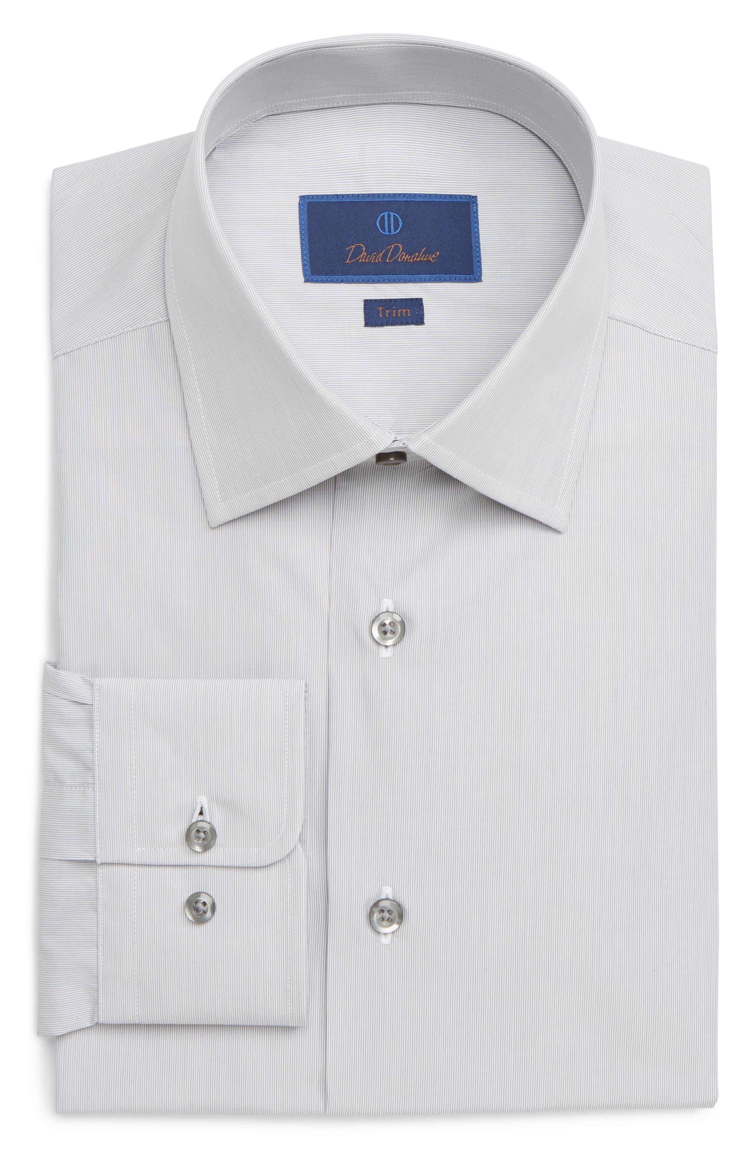 Image of David Donahue Stripe Trim Fit Dress Shirt