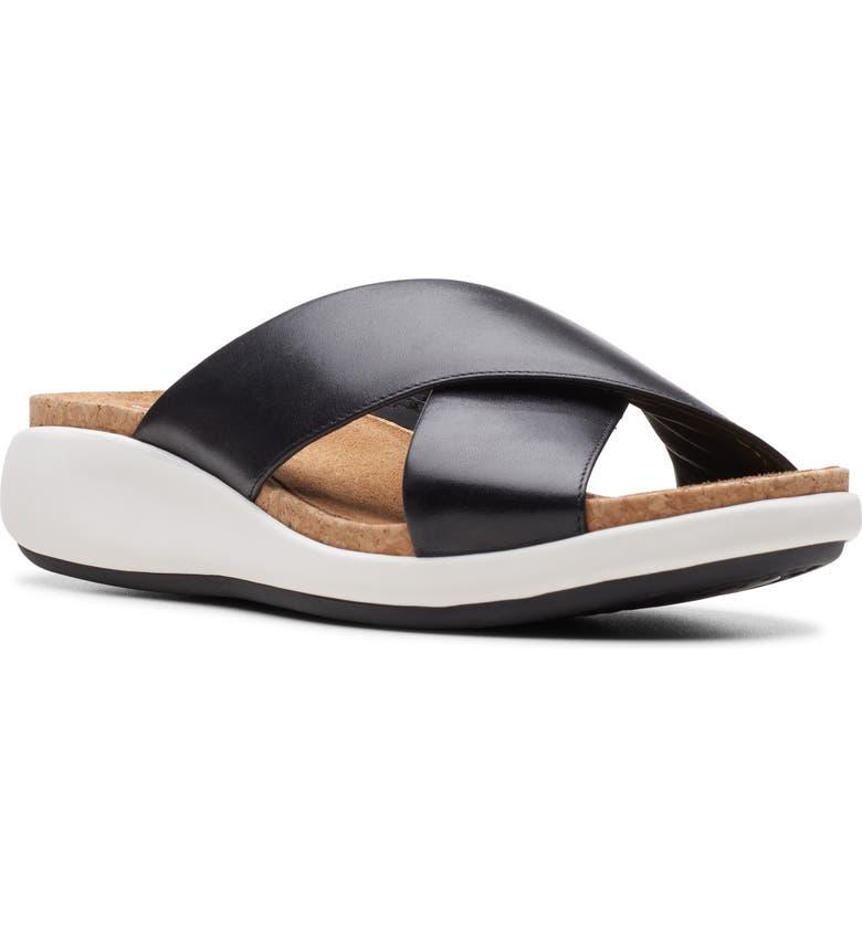 CLARKS<SUP>®</SUP> Bali Go Slide Sandal, Main, color, BLACK LEATHER