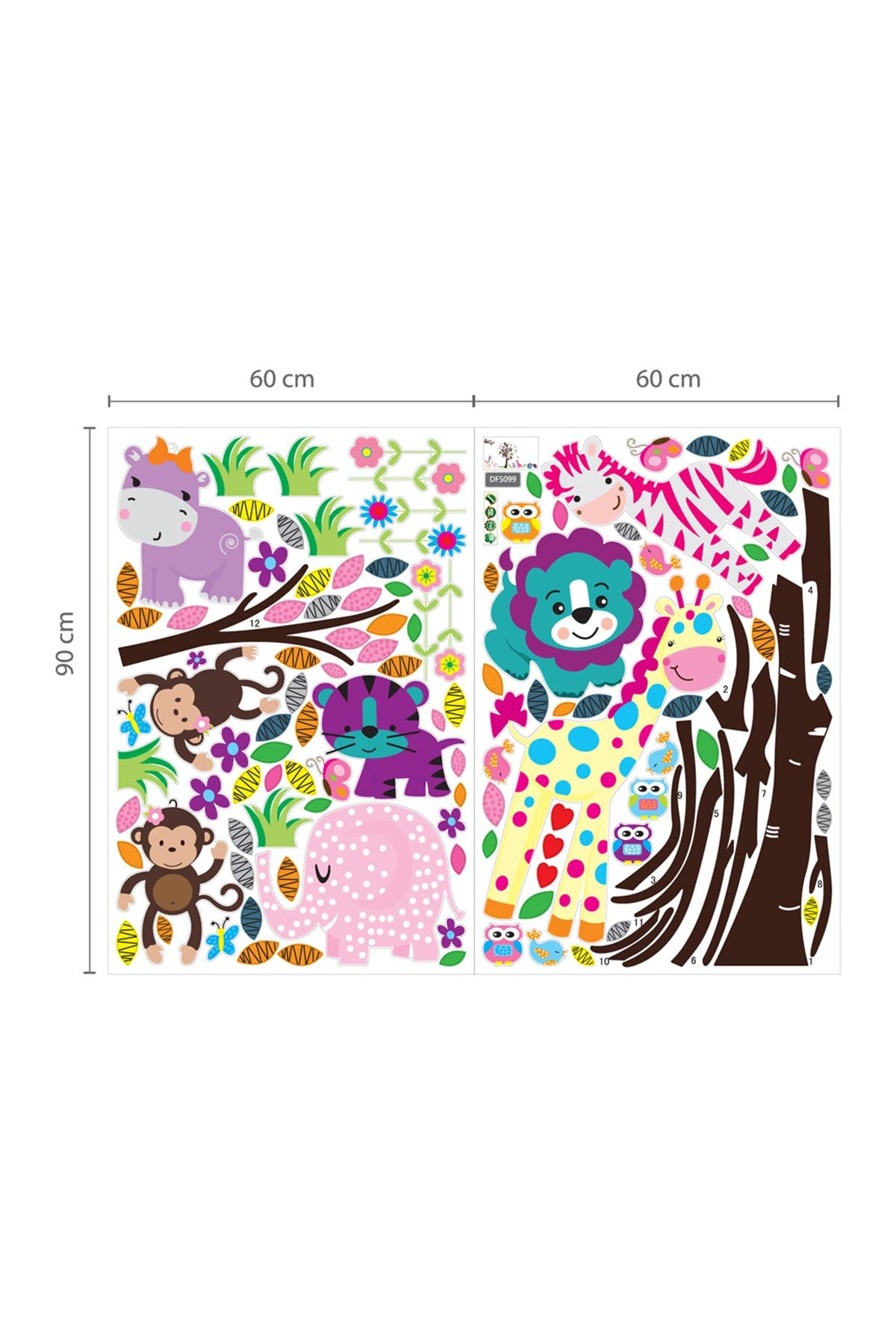 Image of WalPlus Happy Animals, Owl Tree, & Little Chick Grass Decal