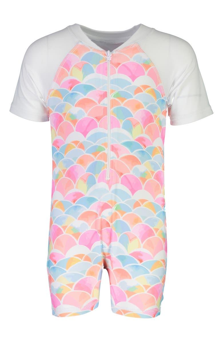 SNAPPER ROCK Rainbow One-Piece Rashguard Swimsuit, Main, color, 650