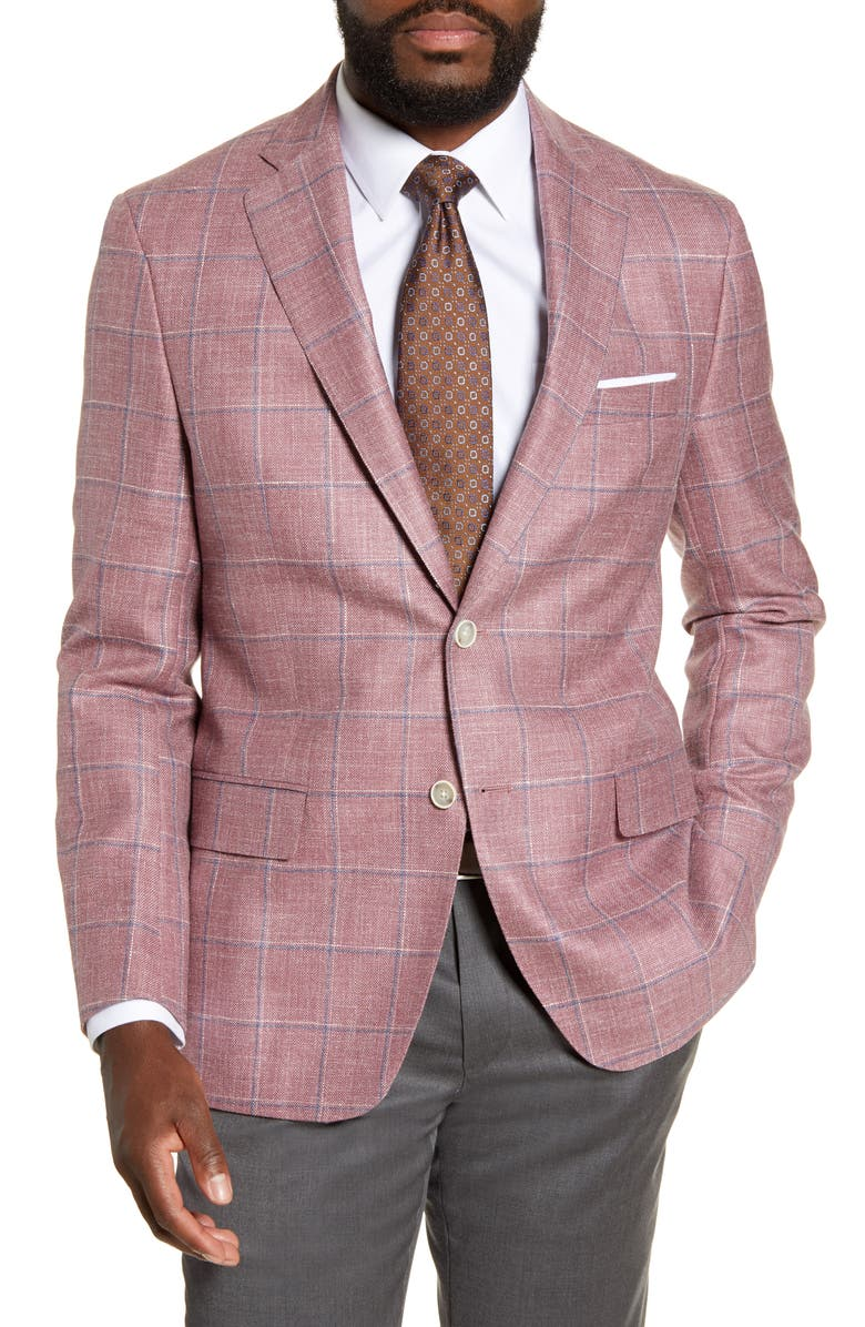 HART SCHAFFNER MARX Classic Fit Windowpane Wool Blend Sport Coat, Main, color, ROSE/ WHITE