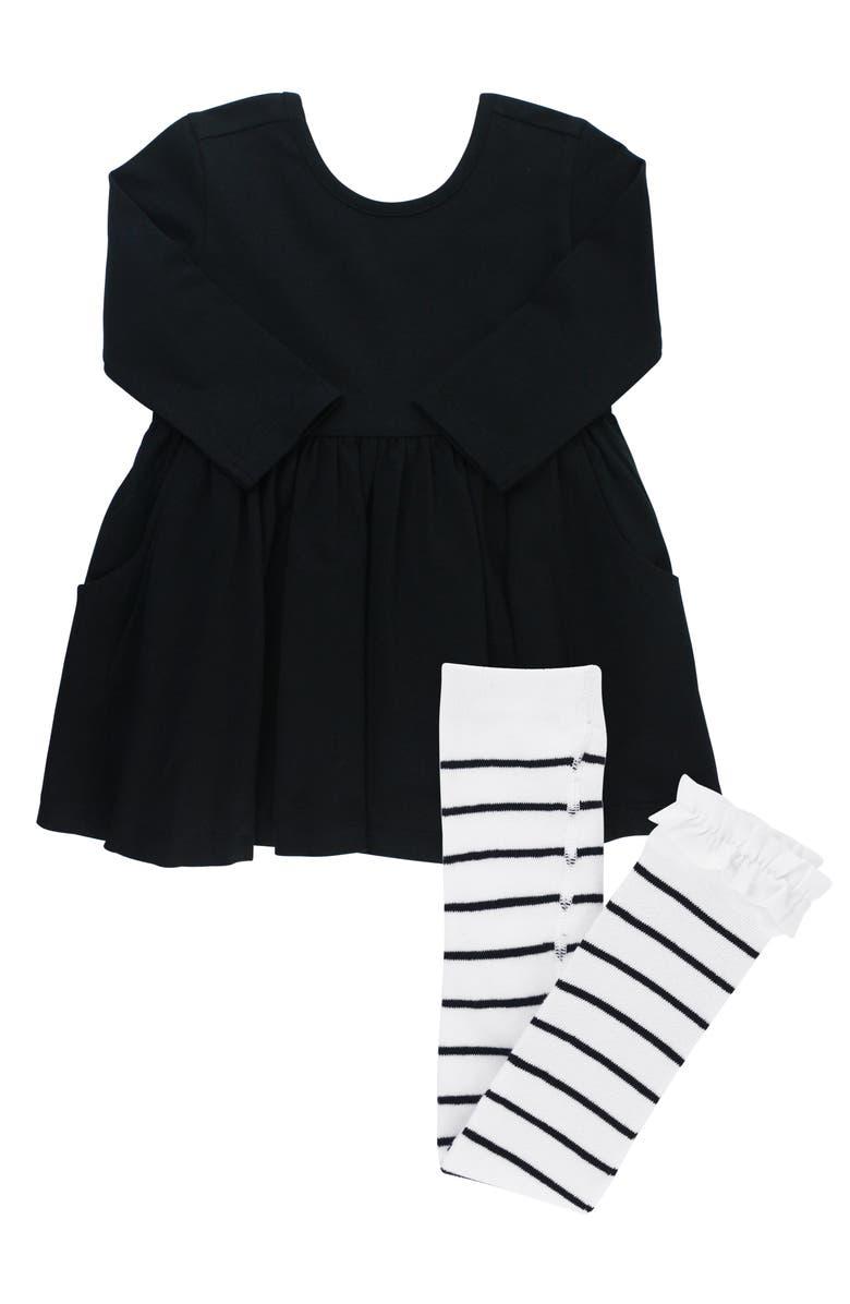RUFFLEBUTTS Twirl Dress & Stripe Tights, Main, color, 001